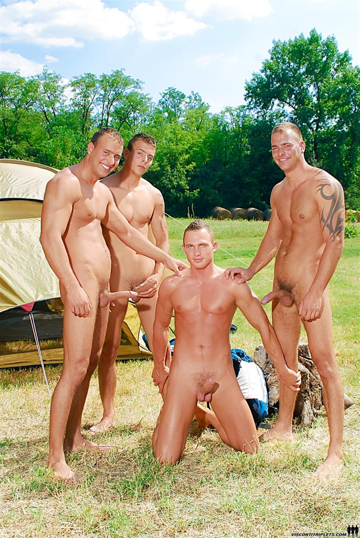 Visconti Triplets Jason Visconti Jimmy Visconti Joey Visconti Giuseppe Pardi Fucking During A Camping Trip Amateur Gay Porn 03 Visconti Triplets Tag Team Some Muscle Ass While Camping