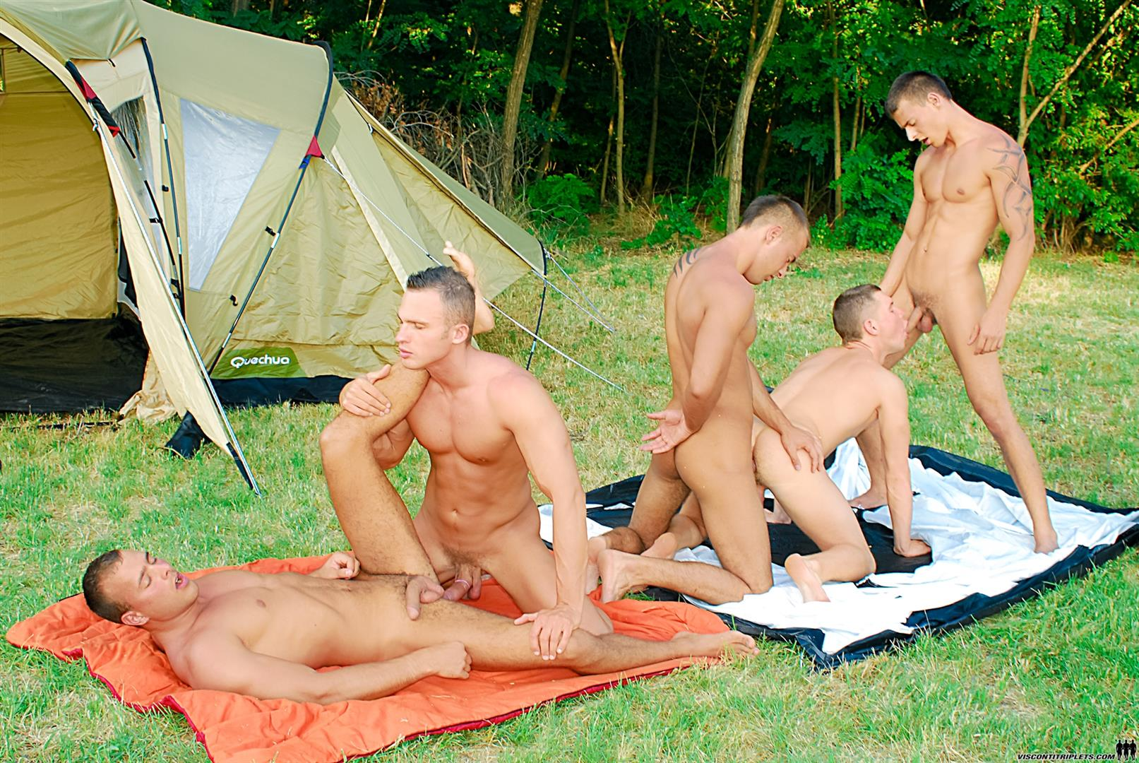 Visconti-Triplets-Jason-Visconti-Jimmy-Visconti-Joey-Visconti-Giuseppe-Pardi-Fucking-During-A-Camping-Trip-Amateur-Gay-Porn-14 Visconti Triplets Tag Team Some Muscle Ass While Camping