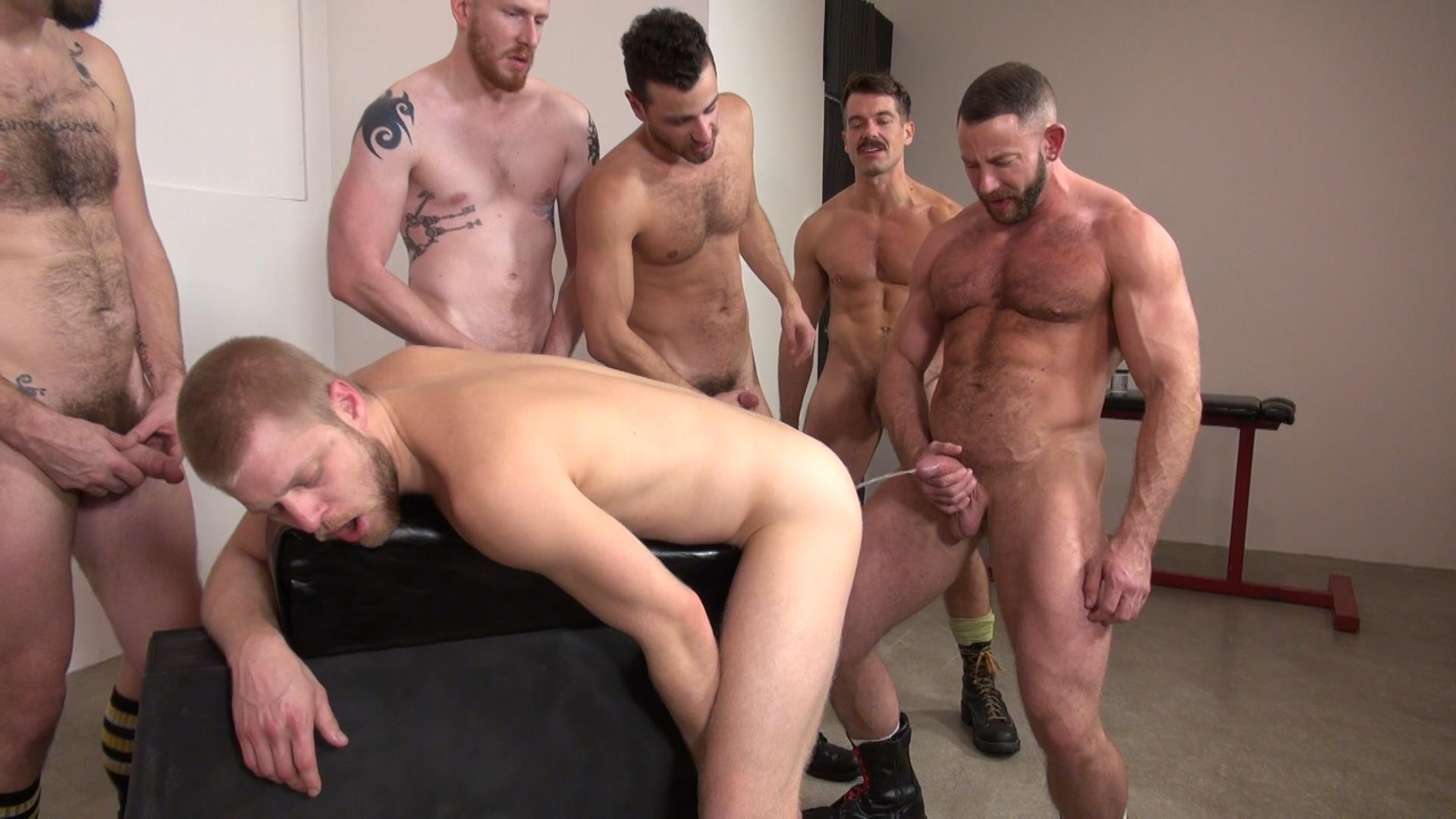 Raw-and-Rough-Bareback-Gay-Sex-Orgy-Amateur-Gay-Porn-03 Six Hairy Hung Guys Pounding A Bottom At A Bareback Sex Party