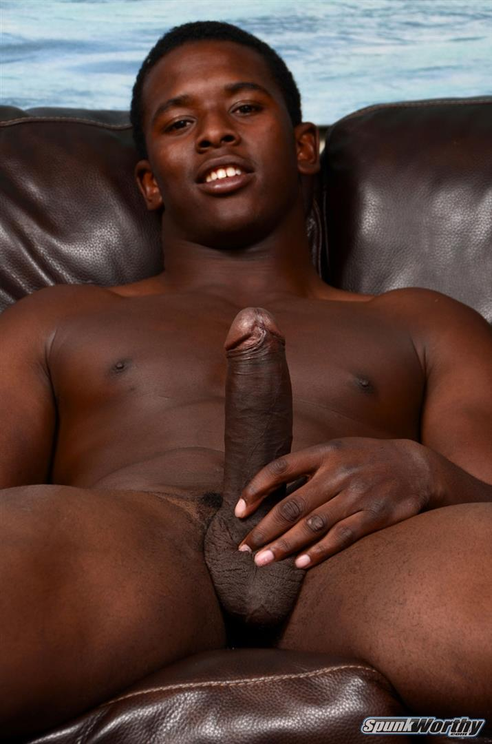 SpunkWorthy-Heath-Naked-College-Football-Player-Stroking-His-Big-Black-Cock-Amateur-Gay-Porn-06 Straight College Football Player Jerking His Big Uncut Black Cock