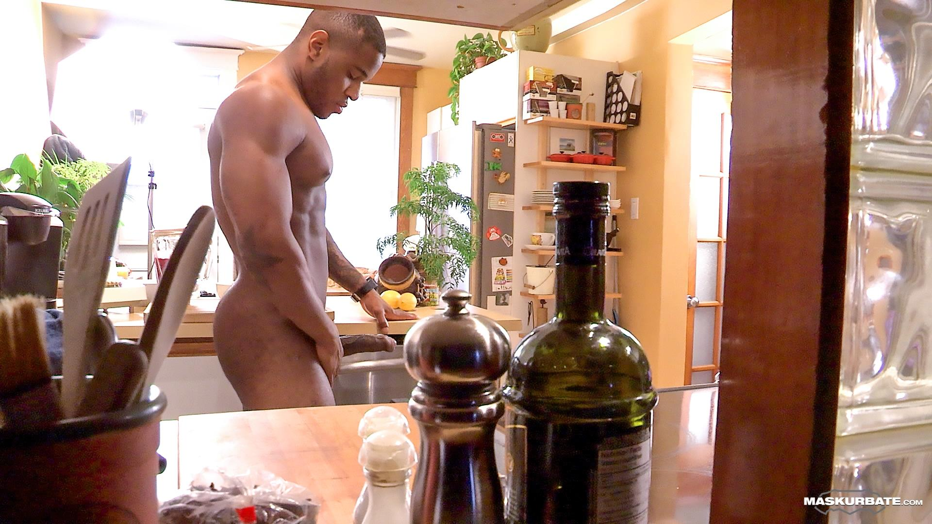 Maskurbate-Adam-Black-Muscle-Guy-Jerking-His-Big-Black-Uncut-Cock-Amateur-Gay-Porn-10 Black Bodybuilder Strokes His Big Black Uncut Cock
