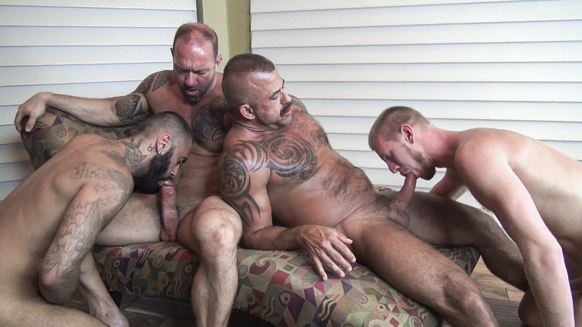 Raw-Fuck-Club-Vic-Rocco-and-Rikk-York-and-Billy-Warren-and-Job-Galt-Bareback-Daddy-Amateur-Gay-Porn-10 Four Hairy Muscle Daddies In A Bareback Fuck Fest Orgy