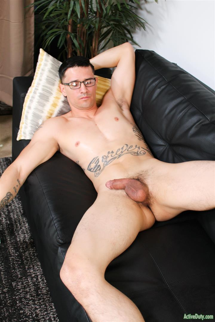 Active-Duty-Woody-Johnson-Naked-Military-Guy-Jerking-Off-Big-Cock-12 Soldier Auditions For Gay Porn And Strokes A Big Load Out