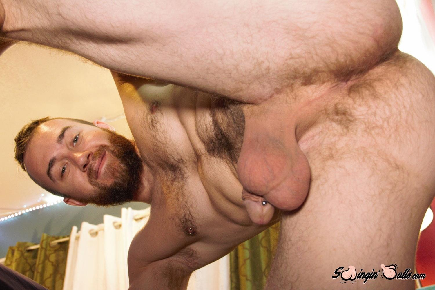Swingin-Balls-John-Powers-Big-Dick-And-Big-Balls-Jerk-off-Video-03 Hairy Scruffy Guy Strokes His Big Cock and Shoots A Big Load Of Cum